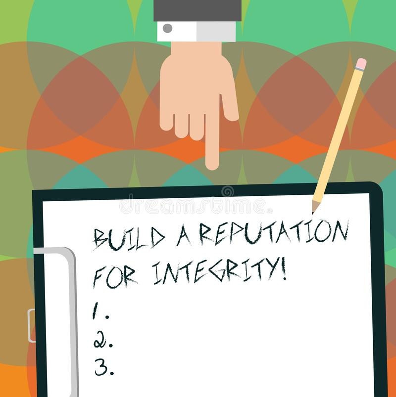 Conceptual hand writing showing Build A Reputation For Integrity. Business photo text Obtain good feedback based on. Ethics Hu analysis Hand Pointing Down to vector illustration