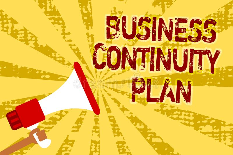 Conceptual hand writing showing Business Continuity Plan. Business photo text creating systems prevention deal potential threats M. An holding megaphone stock illustration