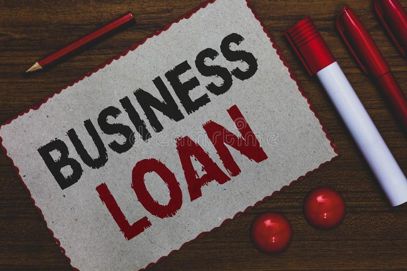 Conceptual hand writing showing Business Loan. Business photo showcasing Credit Mortgage Financial Assistance Cash Advances Debt W. Hite paper red borders stock images
