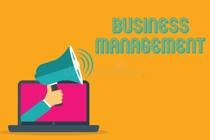 Conceptual hand writing showing Business Management. Business photo text Overseeing Supervising Coordinating Business royalty free illustration