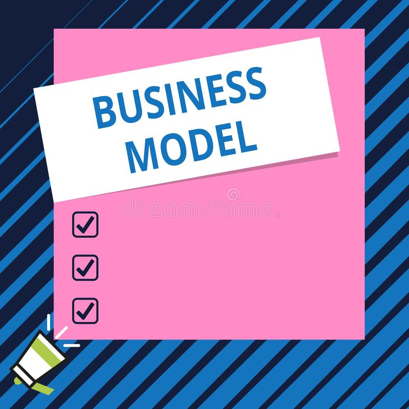 Conceptual hand writing showing Business Model. Business photo showcasing Identifying revenue sources Plan on how to. Conceptual hand writing showing Business royalty free illustration
