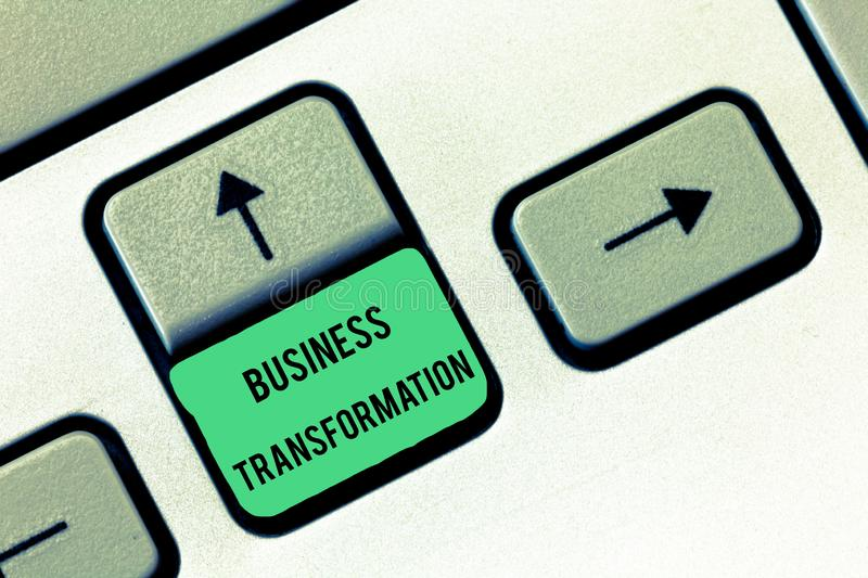 Conceptual hand writing showing Business Transformation. Business photo text Align their Trade models with Strategy Improvement.  stock images