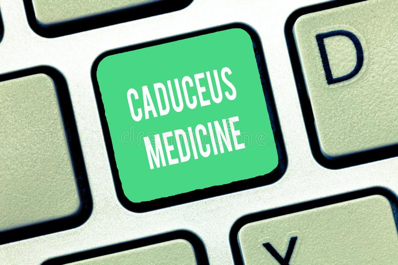 Conceptual hand writing showing Caduceus Medicine. Business photo text symbol used in medicine instead of the Rod of. Asclepius royalty free stock photos