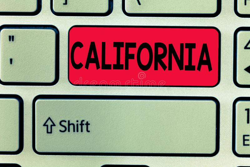 Conceptual hand writing showing California. Business photo text State on west coast United States of America Beaches. Hollywood royalty free stock photos