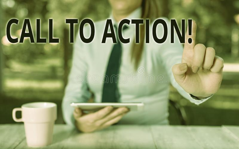 Conceptual hand writing showing Call To Action. Business photo text exhortation do something in order achieve aim with. Conceptual hand writing showing Call To stock photos