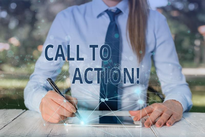 Conceptual hand writing showing Call To Action. Business photo showcasing exhortation do something in order achieve aim. Conceptual hand writing showing Call To royalty free stock image