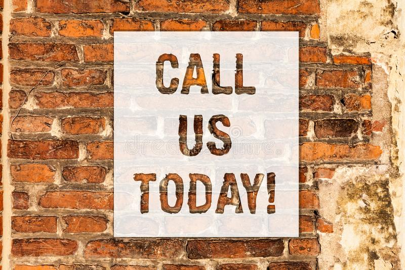 Conceptual hand writing showing Call Us Today. Business photo text Make a telephone calling to ask for advice or support stock photos