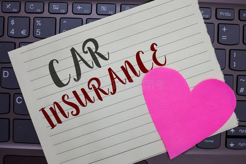 Conceptual hand writing showing Car Insurance. Business photo showcasing Accidents coverage Comprehensive Policy Motor Vehicle Gua. Ranty Notebook paper keyboard stock photo