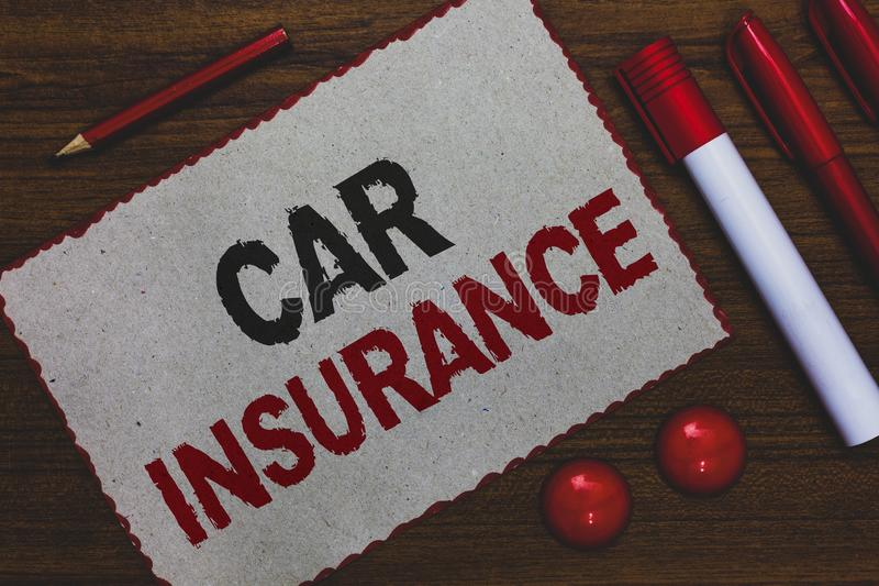 Conceptual hand writing showing Car Insurance. Business photo showcasing Accidents coverage Comprehensive Policy Motor Vehicle Gua. Ranty White paper red borders royalty free stock photo