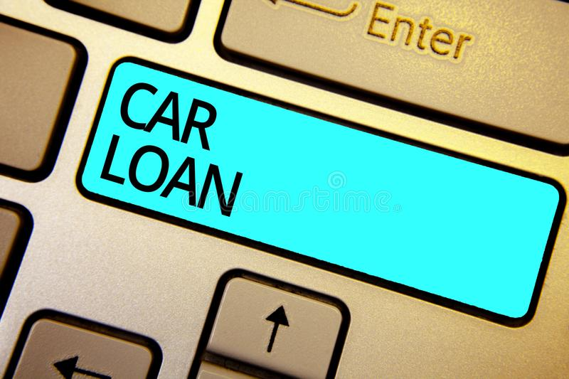 Conceptual hand writing showing Car Loan. Business photo showcasing taking money from bank with big interest to buy new vehicle Ke. Yboard blue key Intention royalty free stock photo