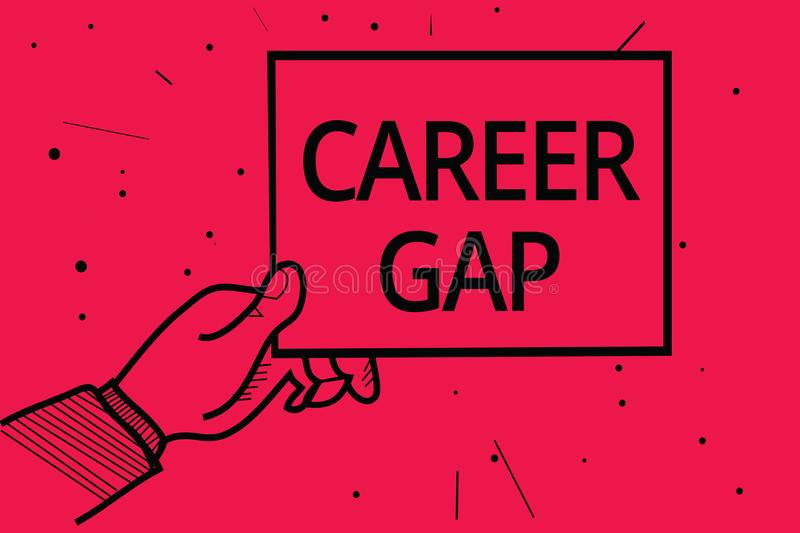 Conceptual hand writing showing Career Gap. Business photo text A scene where in you stop working by your profession for a while M royalty free illustration