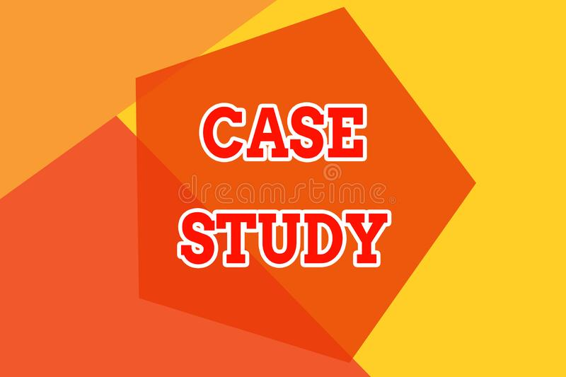 Conceptual hand writing showing Case Study. Business photo showcasing analysis and a specific research design for. Conceptual hand writing showing Case Study stock illustration
