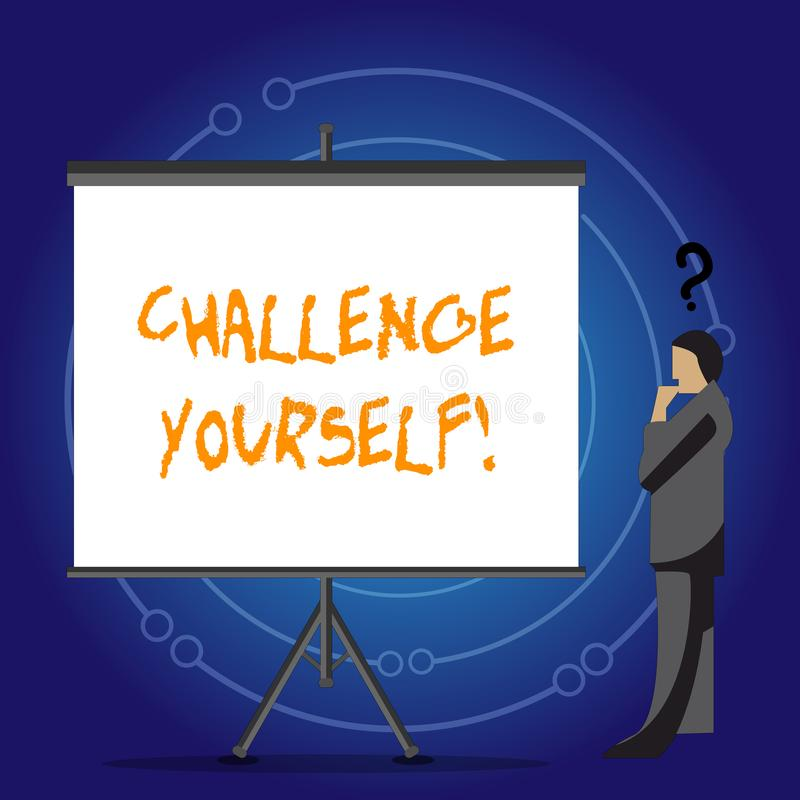 Conceptual hand writing showing Challenge Yourself. Business photo showcasing Overcome Confidence Strong Encouragement Improvement. Conceptual hand writing vector illustration
