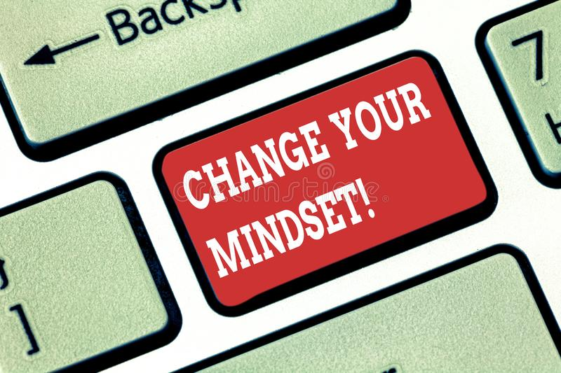 Conceptual hand writing showing Change Your Mindset. Business photo showcasing fixed mental attitude or disposition. Demonstrating responses Keyboard key royalty free stock photo