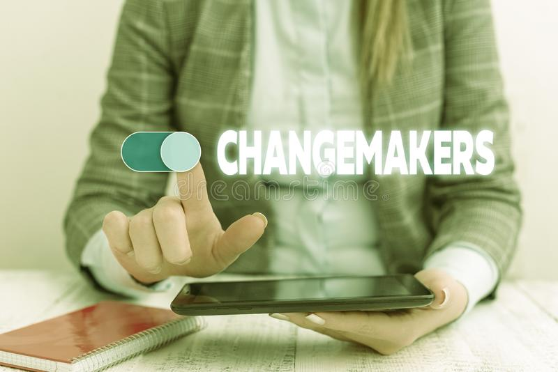 Conceptual hand writing showing Changemakers. Business photo showcasing Young Turk Influencers Acitivists Urbanization. Conceptual hand writing showing stock image