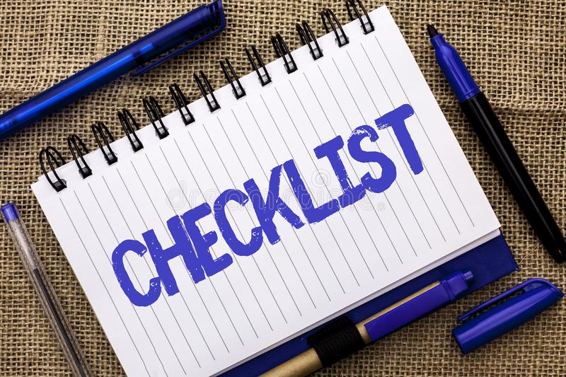 Conceptual hand writing showing Checklist. Business photo showcasing Todolist List Plan Choice Report Feedback Data Questionnaire stock image