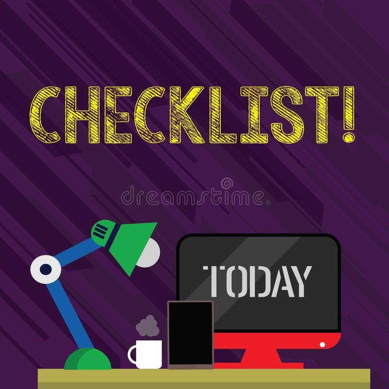 Conceptual hand writing showing Checklist. Business photo text list items required things be done or points considered. Conceptual hand writing showing Checklist stock illustration