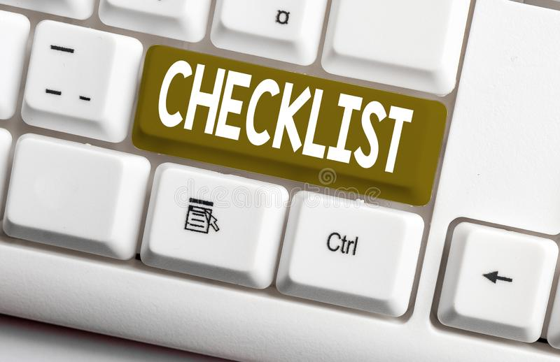 Conceptual hand writing showing Checklist. Business photo text List down of the detailed activity as guide of doing. Conceptual hand writing showing Checklist royalty free stock photo