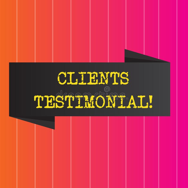 Conceptual hand writing showing Clients Testimonial. Business photo showcasing Customers Personal Experiences Reviews Opinions. Feedback vector illustration