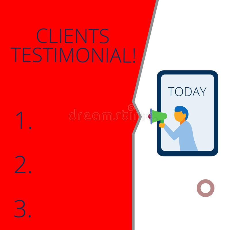 Conceptual hand writing showing Clients Testimonial. Business photo text Formal Statement Testifying Candid Endorsement. Conceptual hand writing showing Clients vector illustration