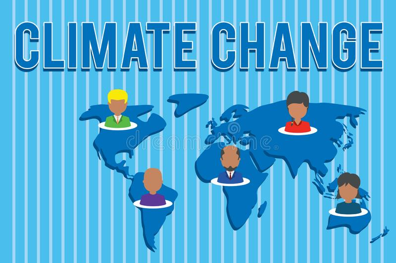 Conceptual hand writing showing Climate Change. Business photo text Increase in global average temperature Weather stock illustration