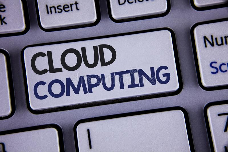 Conceptual hand writing showing Cloud Computing. Business photo showcasing Online Information Storage Virtual Media Data Server Te. Xt two words backspace button stock photography