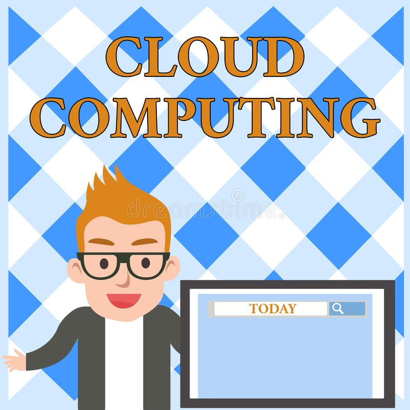 Conceptual hand writing showing Cloud Computing. Business photo text use a network of remote servers hosted on the. Conceptual hand writing showing Cloud royalty free illustration