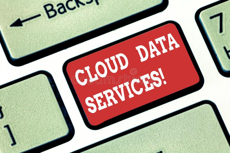Conceptual hand writing showing Cloud Data Services. Business photo showcasing enables data access on deanalysisd users. Regardless location Keyboard key stock photography