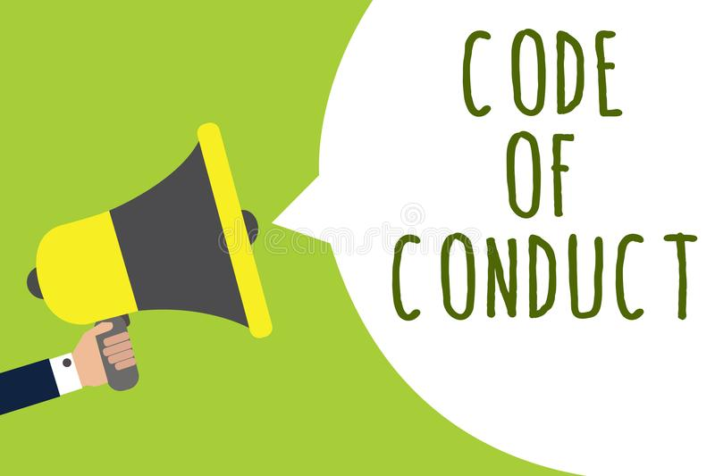 Conceptual hand writing showing Code Of Conduct. Business photo showcasing Ethics rules moral codes ethical principles values resp. Ect Man holding loudspeaker vector illustration