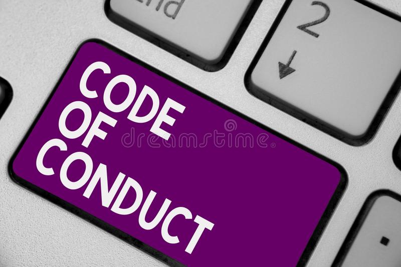 Conceptual hand writing showing Code Of Conduct. Business photo showcasing Ethics rules moral codes ethical principles values resp. Ect Keyboard purple key stock photo