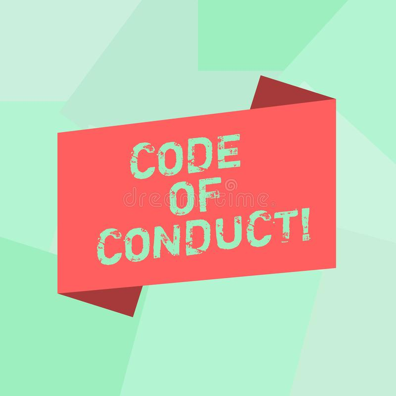 Conceptual hand writing showing Code Of Conduct. Business photo text Ethics rules moral codes ethical principles values. Respect Blank Color Folded Banner Strip royalty free illustration