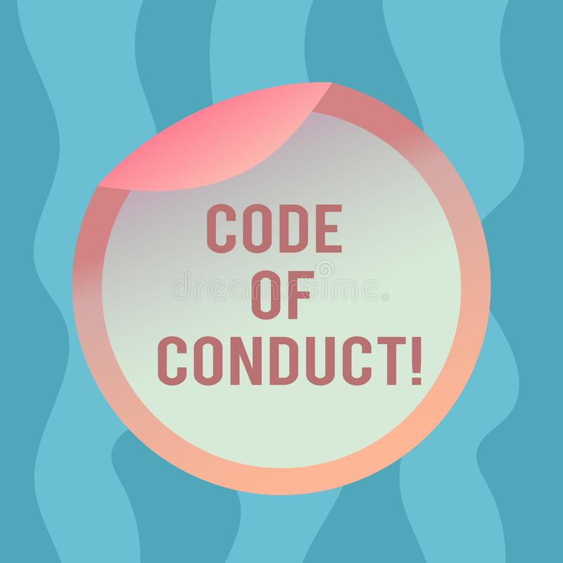 Conceptual hand writing showing Code Of Conduct. Business photo text Ethics rules moral codes ethical principles values. Respect Bottle Packaging Lid Carton vector illustration