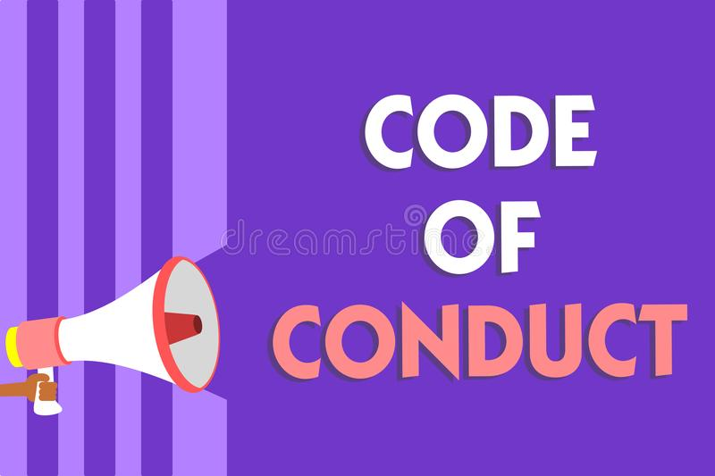 Conceptual hand writing showing Code Of Conduct. Business photo text Ethics rules moral codes ethical principles values respect Me. Gaphone loudspeaker purple royalty free illustration