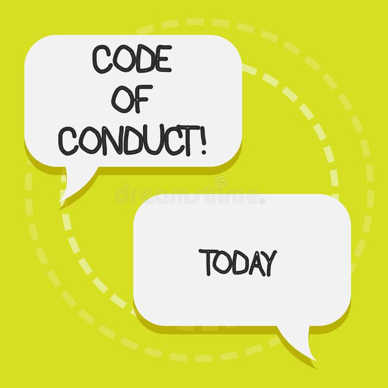 Conceptual hand writing showing Code Of Conduct. Business photo text Follow principles and standards for business. Conceptual hand writing showing Code Of royalty free illustration