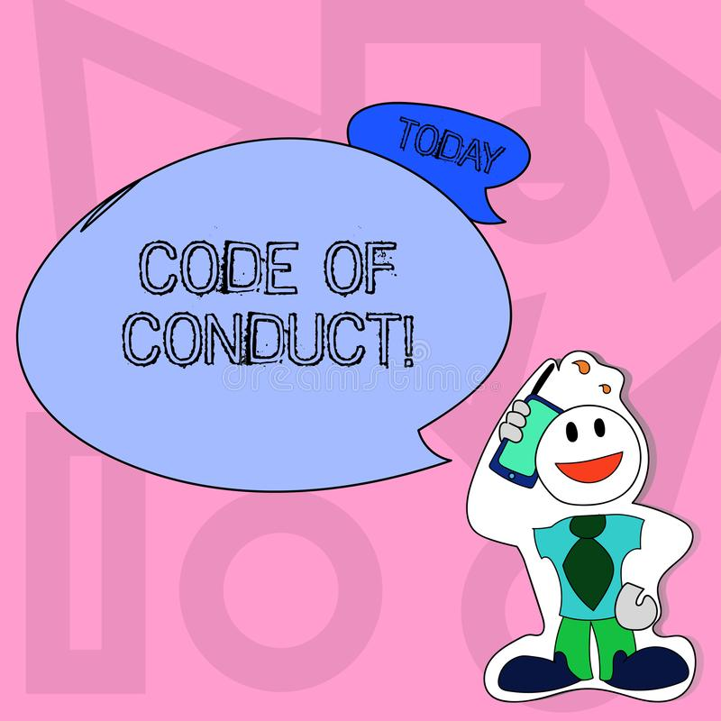 Conceptual hand writing showing Code Of Conduct. Business photo text Follow principles and standards for business. Conceptual hand writing showing Code Of vector illustration