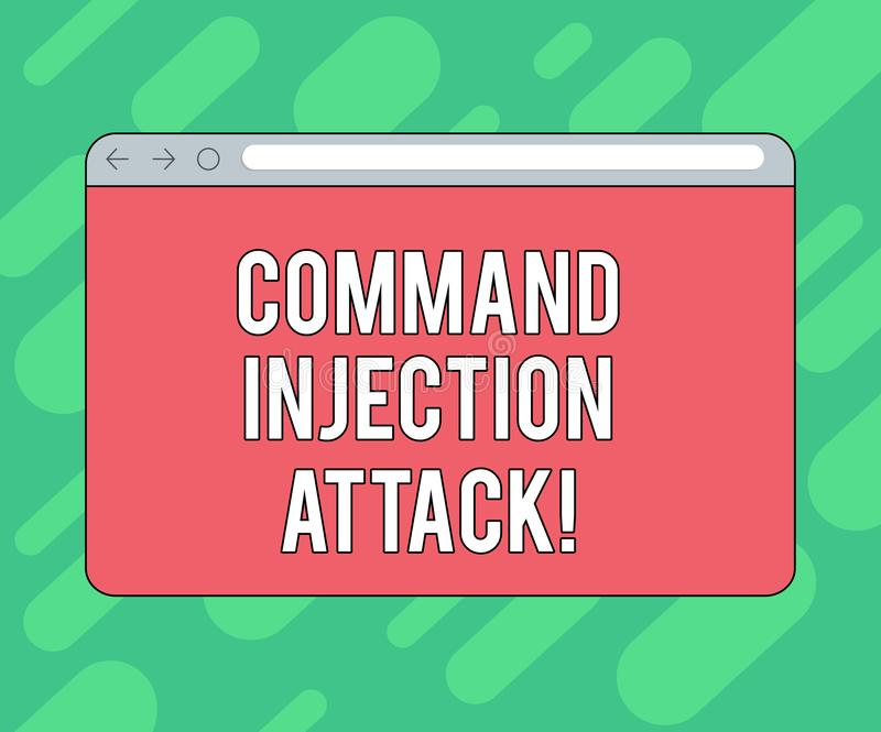 Conceptual hand writing showing Comanalysisd Injection Attack. Business photo showcasing execution of arbitrary comanalysisds on. The host OS Monitor Screen royalty free stock images
