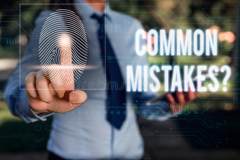 Conceptual hand writing showing Common Mistakes question. Business photo showcasing repeat act or judgement misguided or. Conceptual hand writing showing Common royalty free stock photo