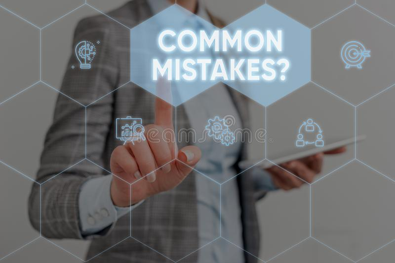 Conceptual hand writing showing Common Mistakes question. Business photo showcasing repeat act or judgement misguided or. Conceptual hand writing showing Common royalty free stock photos
