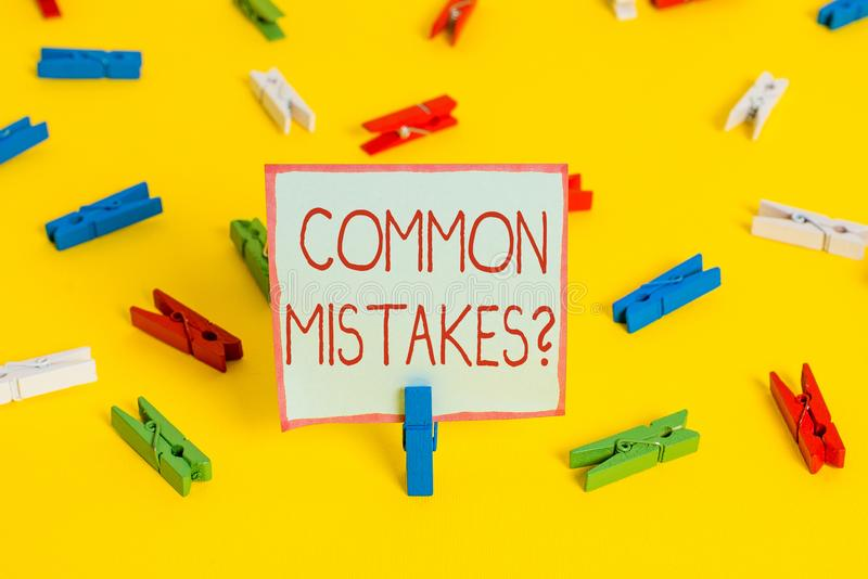 Conceptual hand writing showing Common Mistakes Question. Business photo showcasing repeat act or judgement misguided. Conceptual hand writing showing Common stock photos