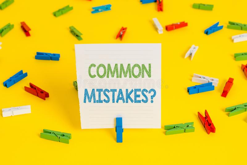 Conceptual hand writing showing Common Mistakes question. Business photo showcasing repeat act or judgement misguided or. Conceptual hand writing showing Common royalty free stock image