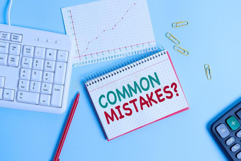 Conceptual hand writing showing Common Mistakes Question. Business photo text repeat act or judgement misguided making. Conceptual hand writing showing Common stock photo