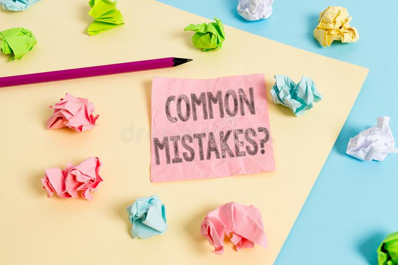 Conceptual hand writing showing Common Mistakes Question. Business photo text repeat act or judgement misguided making. Conceptual hand writing showing Common stock images