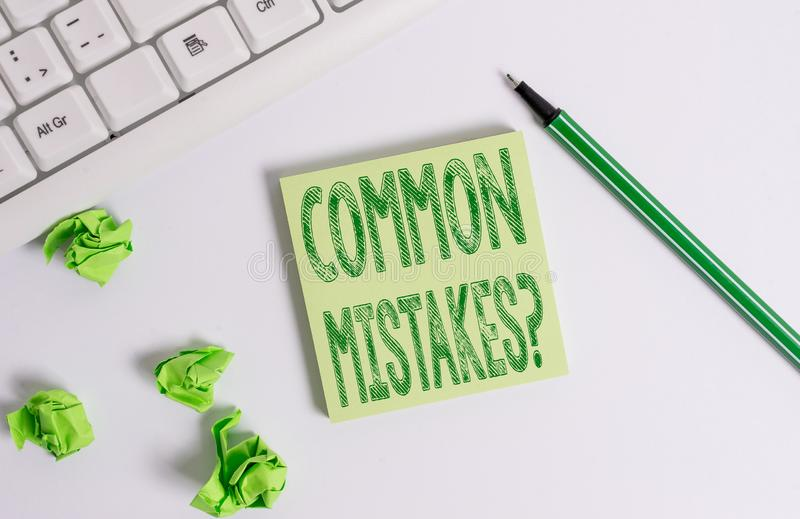 Conceptual hand writing showing Common Mistakes question. Business photo text repeat act or judgement misguided or wrong. Conceptual hand writing showing Common stock photography