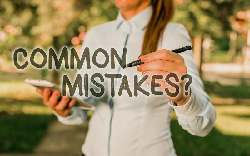 Conceptual hand writing showing Common Mistakes question. Business photo text repeat act or judgement misguided or wrong. Conceptual hand writing showing Common royalty free stock photos