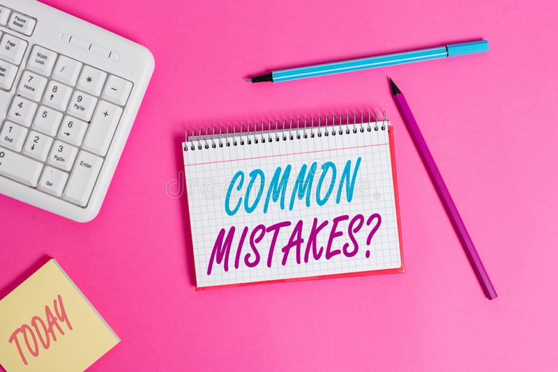 Conceptual hand writing showing Common Mistakes question. Business photo showcasing repeat act or judgement misguided or. Conceptual hand writing showing Common stock image