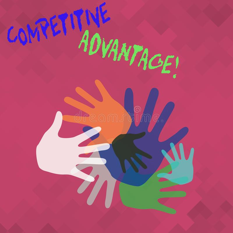 Conceptual hand writing showing Competitive Advantage. Business photo showcasing owning quality that will assure you leading in. Conceptual hand writing showing royalty free illustration
