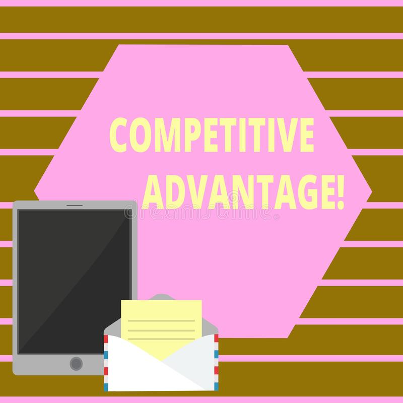 Conceptual hand writing showing Competitive Advantage. Business photo text owning quality that will assure you leading. Conceptual hand writing showing royalty free illustration