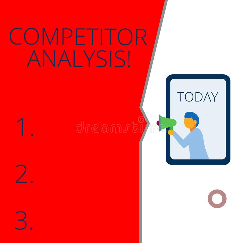 Conceptual hand writing showing Competitor Analysis. Business photo text Determine the Strength Weakness of Competitive. Conceptual hand writing showing vector illustration