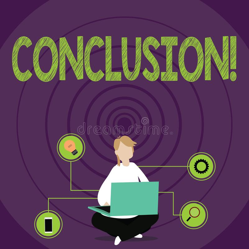 Conceptual hand writing showing Conclusion. Business photo text Results analysis Final decision End of an event or. Conceptual hand writing showing Conclusion stock illustration