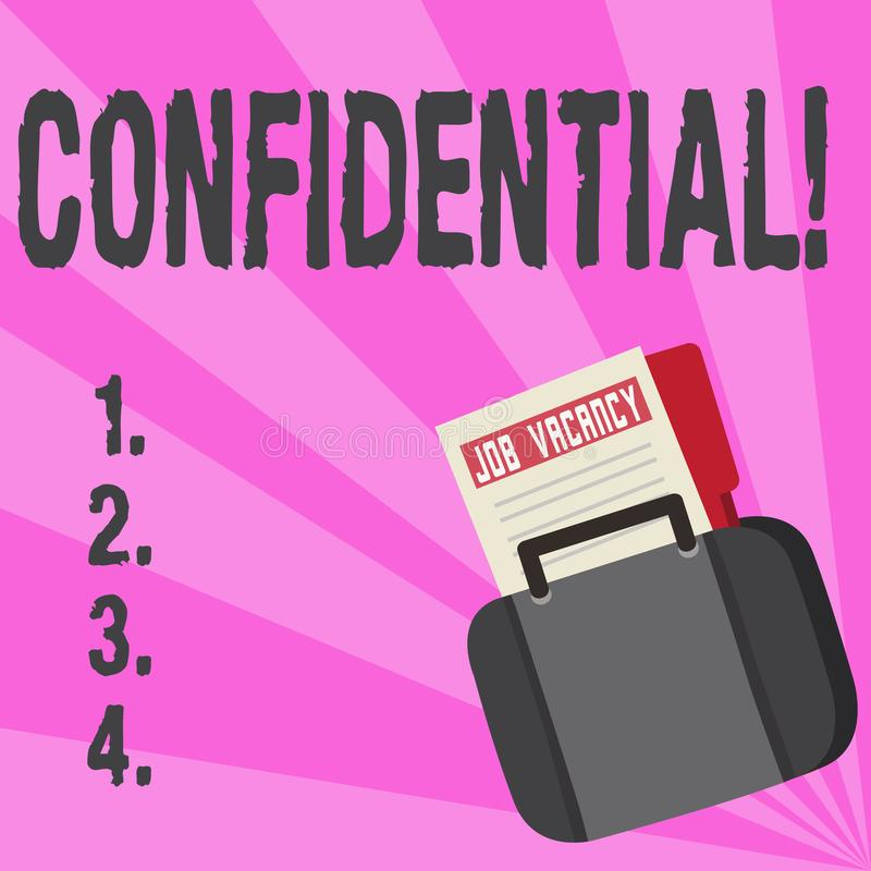 Conceptual hand writing showing Confidential. Business photo text Agreements between two parties are private and. Protected royalty free illustration